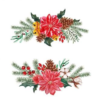 Composizioni acquerellate invernali e ghirlanda floreale