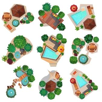 Composizioni di paesaggi set di vista dall'alto