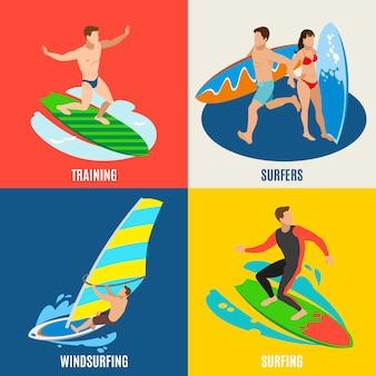 Composizioni di persone a bordo di allenamento e windsurf