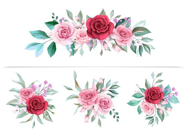 Composizioni floreali ad acquerello