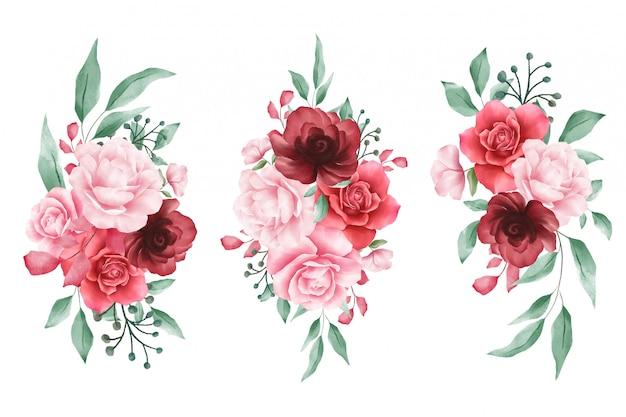 Composizioni floreali dell'acquerello per elementi di biglietti di auguri o matrimonio