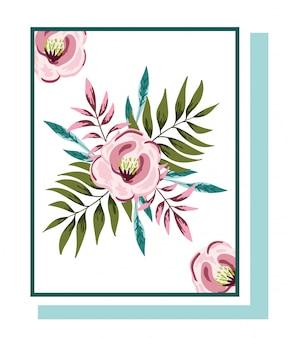 Composizioni floreali di fiori botaniche per biglietto di auguri