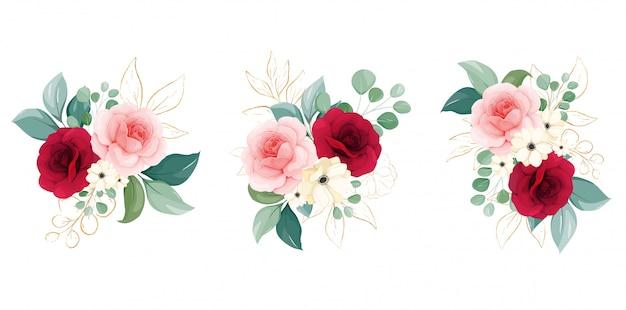 Composizioni floreali di fiori di pesco e rose bordeaux, rami e foglie glitterate delineate