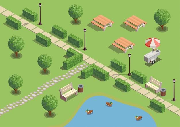 Composizioni isometriche nell'area ricreativa del parco della città con i venditori di snack delle lanterne della mobilia all'aperto delle anatre dello stagno del percorso