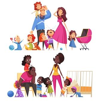 Composizioni orizzontali nella grande famiglia due con l'illustrazione piana di vettore di molti piccoli bambini e genitori stanchi