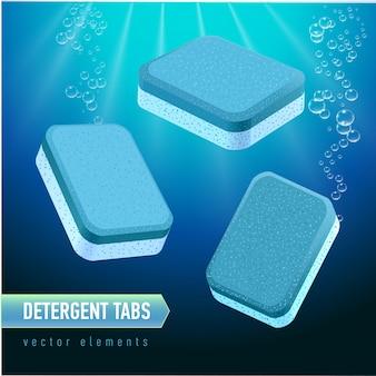 Compressa detergente per lavastoviglie da diverse angolazioni. schede blu e bianche del sapone sul fondo profondo dell'acqua blu. bolle d'acqua realistiche.