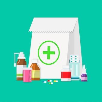 Compresse medicinali, bottiglie, pillole in uno stile piatto.