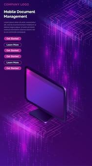 Computer con banner isometrico flusso di grandi quantità di dati