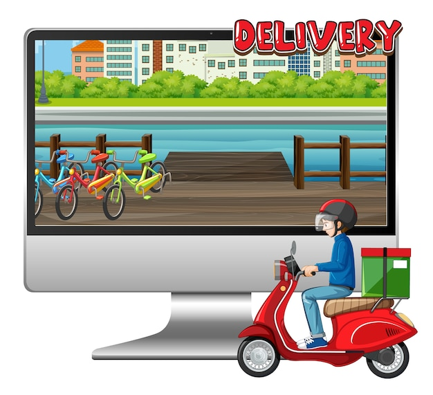 Computer con bici uomo o corriere e logo di consegna