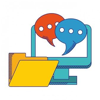 Computer con le bolle di chiacchierata e le linee blu di simbolo della cartella