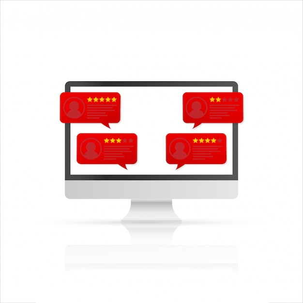 Computer con messaggi di valutazione delle recensioni dei clienti. display per pc desktop e recensioni online o testimonianze dei clienti