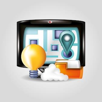 Computer con progettazione dell'illustrazione di vettore delle icone di media sociali