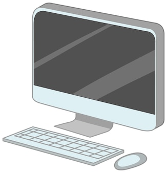 Computer con tastiera e mouse in stile cartone animato isolato