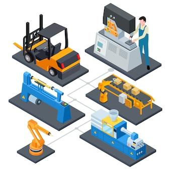 Computer controlla la produzione, illustrazione isometrica di processi di automazione di fabbrica
