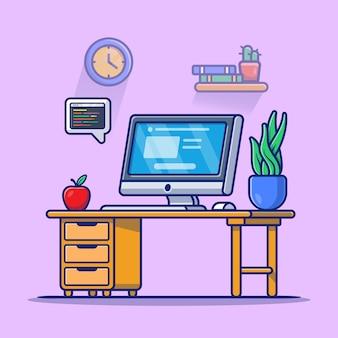 Computer dell'area di lavoro con l'illustrazione dell'icona del fumetto della pianta e della mela. premio isolato concetto dell'icona di tecnologia del posto di lavoro. stile cartone animato piatto