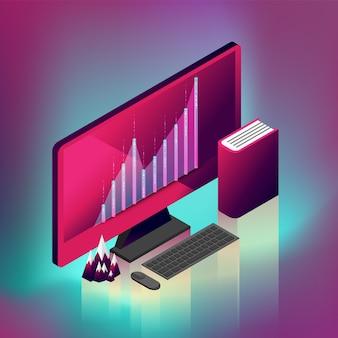 Computer desktop grafico fluttuato.