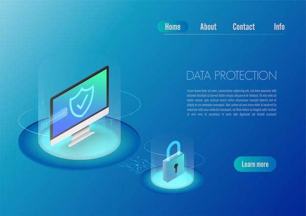 Computer di banner web concetto di design isometrico