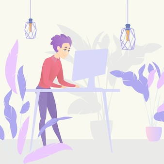 Computer di lavoro del tavolo in piedi del tipo dell'illustrazione