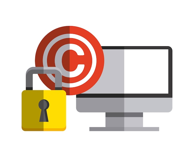 Computer e icona c. design del copyright. grafica vettoriale