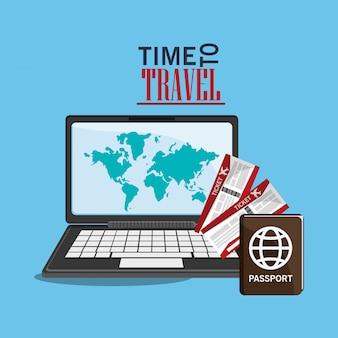 Computer e icone relative al viaggio