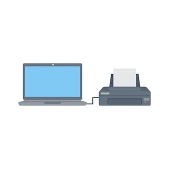 Computer e stampante piatti