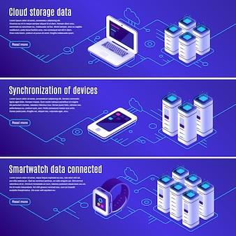 Computer, laptop e smartphone collegati al set di banner di archiviazione dati online cloud
