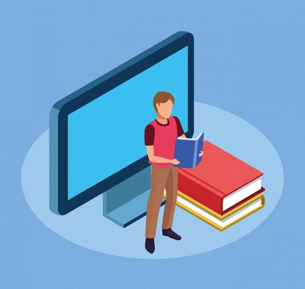 Computer, libri e uomo in piedi a leggere un libro