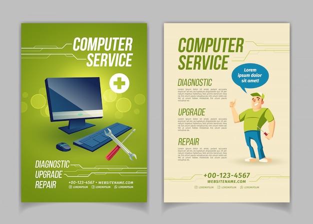 Computer manutenzione, aggiornamento e riparazione di cartoni animati di servizio