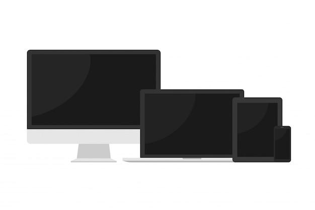Computer moderno, computer portatile, smartphone su bianco