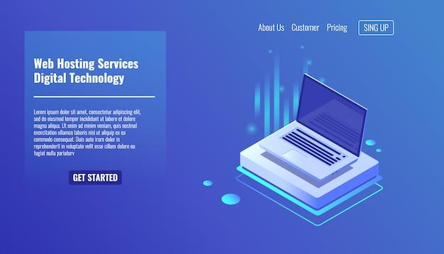 Computer portatile aperto, concetto di servizi di hosting web, tecnologie informatiche