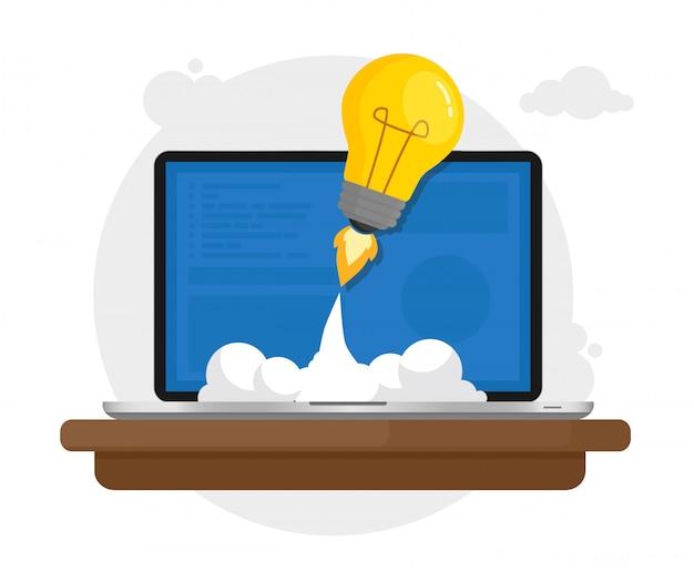 Computer portatile che lancia lampadina nello spazio