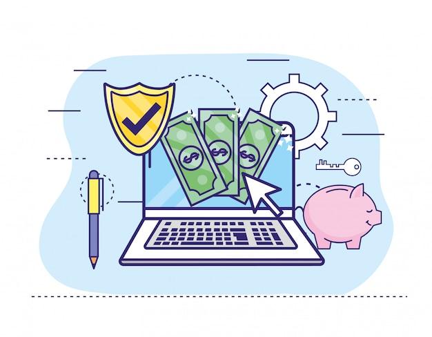 Computer portatile con banconote e scudo per l'online banking