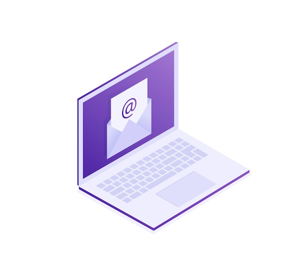 Computer portatile con busta sullo schermo.