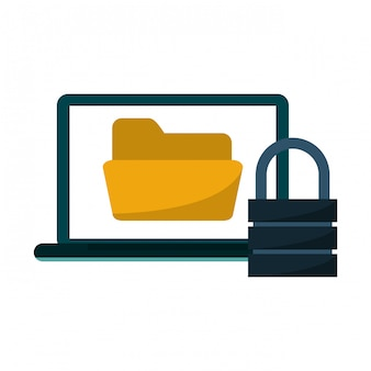 Computer portatile con cartella e lucchetto