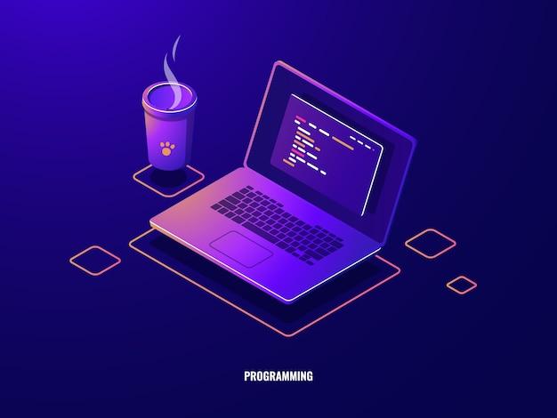 Computer portatile con icona isometrica di codice programma, sviluppo software e applicazioni di programmazione neon scuro