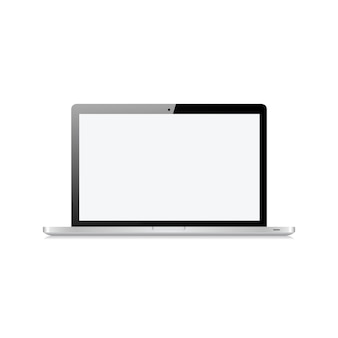 Computer portatile con il touch screen in bianco isolato sull'illustrazione bianca di vettore
