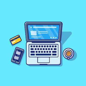 Computer portatile con l'illustrazione dell'icona del fumetto del telefono e del caffè. premio isolato concetto dell'icona di tecnologia di affari. stile cartone animato piatto