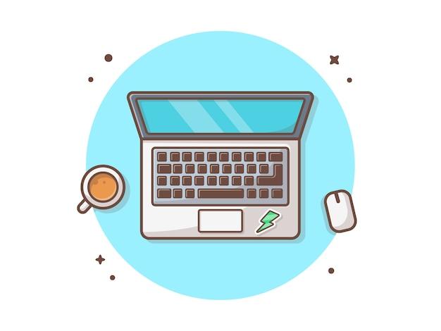Computer portatile con l'illustrazione dell'icona di vettore del caffè
