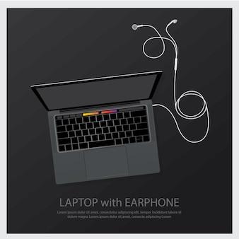 Computer portatile con l'illustrazione delle cuffie di musica