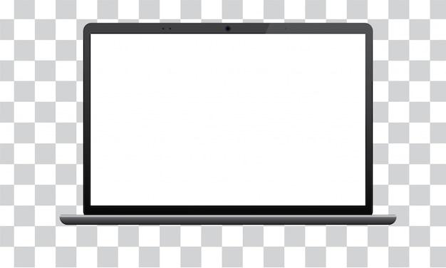 Computer portatile con lo schermo del modello isolato