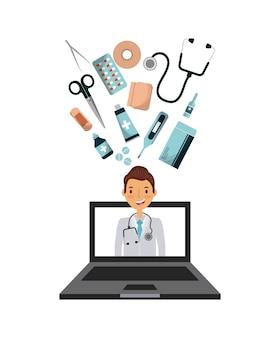 Computer portatile con medico sullo schermo