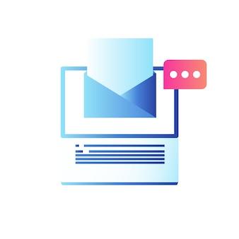 Computer portatile con notifica e-mail e messaggio sullo schermo