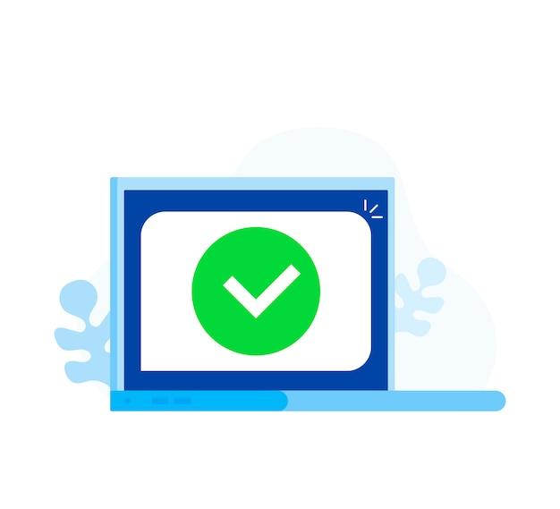 Computer portatile con segno di spunta o notifica tick in bolla
