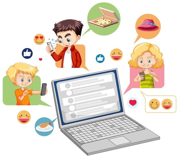 Computer portatile con stile del fumetto icona emoji social media isolato su priorità bassa bianca