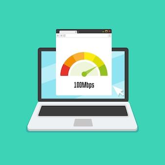 Computer portatile con test di velocità internet sullo schermo. vector piatta illustrazione.
