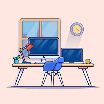 Computer portatile del computer dell'area di lavoro con l'illustrazione dell'icona del fumetto della lampada e del caffè. premio isolato concetto dell'icona di tecnologia del posto di lavoro. stile cartone animato piatto