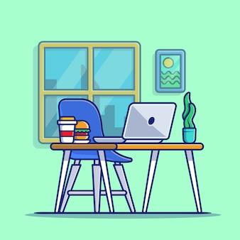 Computer portatile dell'area di lavoro con l'illustrazione dell'icona del fumetto della pianta e dell'hamburger. premio isolato concetto dell'icona di tecnologia dell'area di lavoro. stile cartone animato piatto