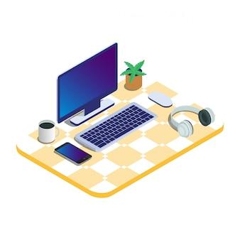 Computer portatile isolato isometrico 3d pronto a funzionare