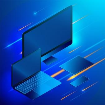 Computer portatile isometrico con elementi infographic di smartphone e tablet.