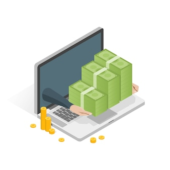 Computer portatile isometrico con l'illustrazione della pila dei soldi